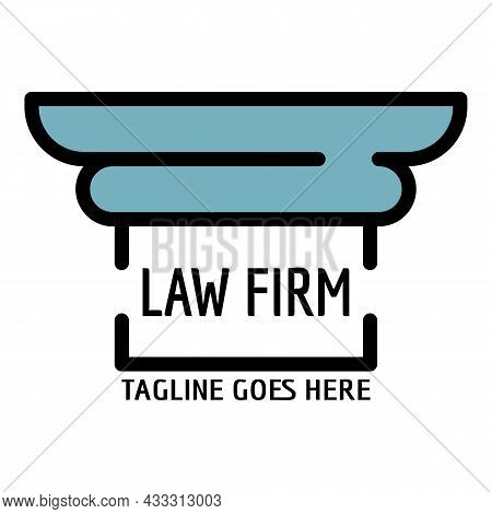 Column Law Firm Logo. Outline Column Law Firm Vector Logo Color Flat Isolated