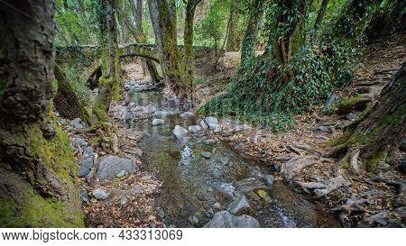 Medieval Stone Bridge, Cyprus Landmark In Paphos Forest. Elia Bridge Was Built By Venetians In The 1