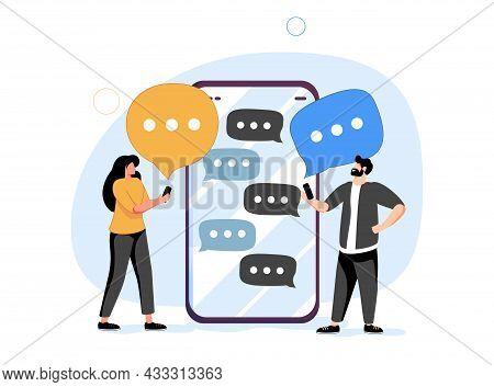 Communication, Dialog, Conversation On An Online Forum And Internet Chatting Concept. Vector Illustr