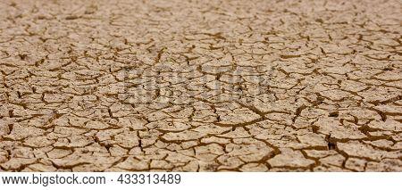 Cracked Brown Mud, Barren Land Surface Natural Texture