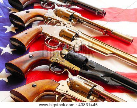Handguns And Flag
