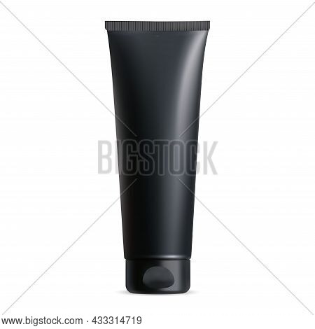 Black Cream Tube. Plastic Lotion Package Blank Mockup. Acne Cleanser, Facial Wash Realistic Template