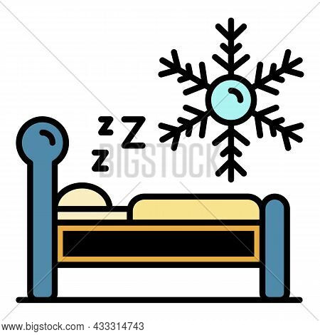 Low Temperature Sleeping Icon. Outline Low Temperature Sleeping Vector Icon Color Flat Isolated