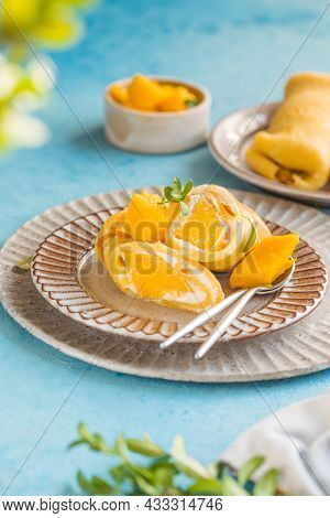 Sticky Rice And Mango Crepe Cake Roll Hong Kong , Thai Food Style In Summer.plate Of Delicious Crepe