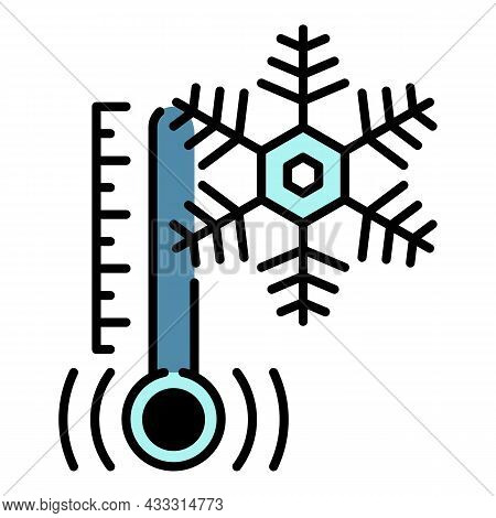 Low Minus Temperature Icon. Outline Low Minus Temperature Vector Icon Color Flat Isolated