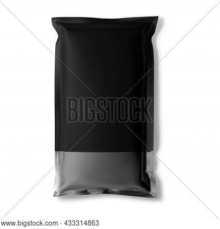 Black Sachet, Foil Bag Mockup Vector Blank, Snack Packet. Pillow Sachet Mock Up, Aluminum Cosmetic P