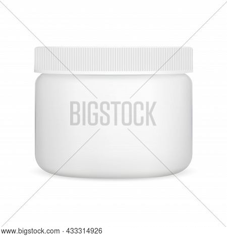 White Cream Jar, Plastic Cosmetic Container, Vector Blank. Simple Round Package Template Mock Up. Fa