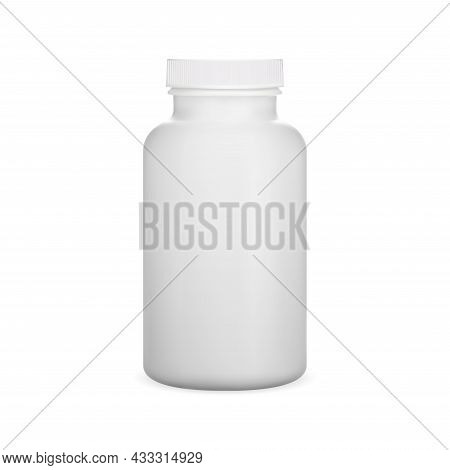 Plastic Pill Bottle. White Witamin Capsule Jar, Vector Template, Isolated On Background. Medicine Su