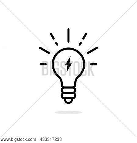 Lightning In Light Bulb Thin Line Icon. Lineart Flat Stroke Invention Logotype Graphic Art Design Is