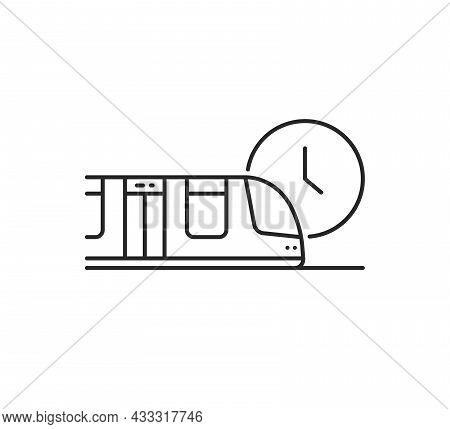 Thin Line Metro Train Arrival Icon. Flat Lineart Style Trend Modern Monoline Logotype Graphic Art De