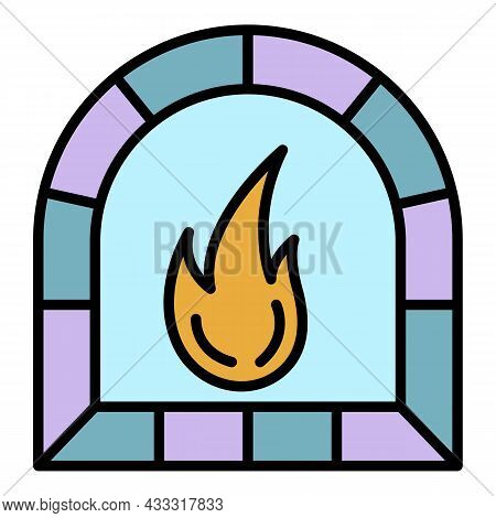 Potter Oven Icon. Outline Potter Oven Vector Icon Color Flat Isolated
