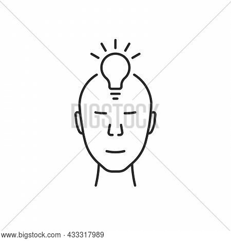 Human Face With Bulb Like Insight Logo. Concept Of Clever People Simple Badge Or Iq Or Imagination S