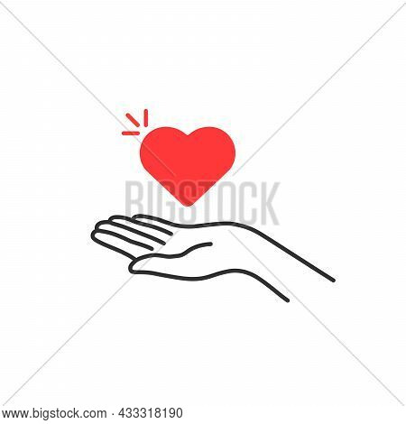 Linear Female Hand Holding Red Heart. Flat Thin Line Style Trend Modern Logotype Graphic Sketch Art