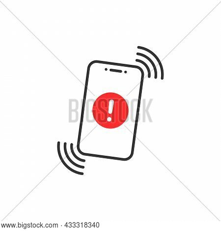 Alert Message In Thin Line Phone. Flat Linear Trend Modern Logotype Graphic Design Isolated On White