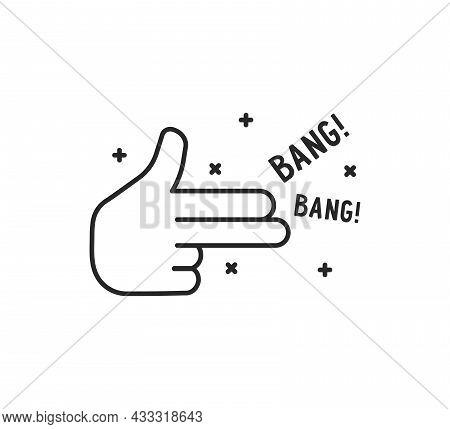 Black Simple Finger Gun Thin Line Icon. Lineart Stroke Style Trend Modern Logotype Graphic Art Desig