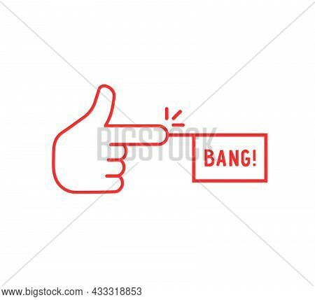 Red Thin Line Finger With Bang Icon. Concept Of Simple Silly Joke Or Fun Children War Games. Lineart