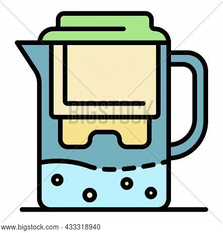 Water Filter Jug Icon. Outline Water Filter Jug Vector Icon Color Flat Isolated