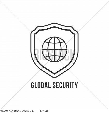 Global Security Icon With Linear Shield. Flat Stroke Style Trend Modern Security Logotype Graphic Ar