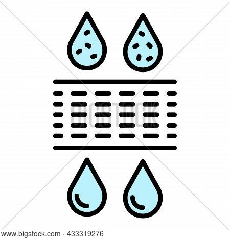 Drop Water Filtration Icon. Outline Drop Water Filtration Vector Icon Color Flat Isolated