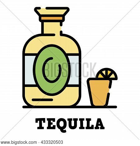 Tequila Bottle Icon. Outline Tequila Bottle Vector Icon Color Flat Isolated