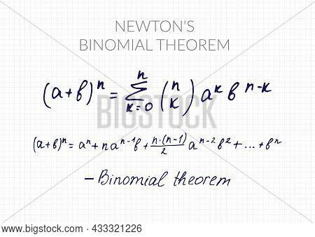 Newton's Binomial Theorem. Vector Mathematical Formula Handwritten On A Checkered Sheet