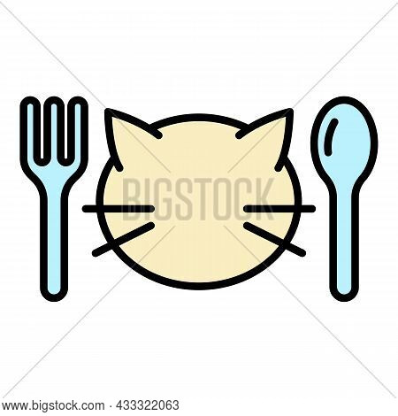 Cat Food Menu Icon. Outline Cat Food Menu Vector Icon Color Flat Isolated