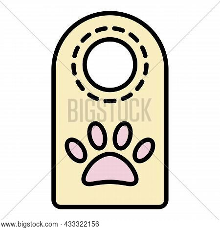 Pet Hotel Door Tag Icon. Outline Pet Hotel Door Tag Vector Icon Color Flat Isolated