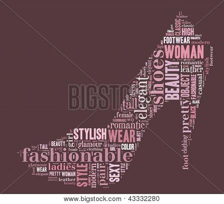 woman shoe tag cloud illustration