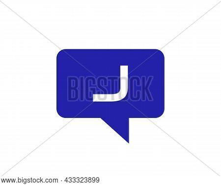 Chat Logo On J Letter Concept. Letter J Chat Logo. Letter J Communication Logo Design Template