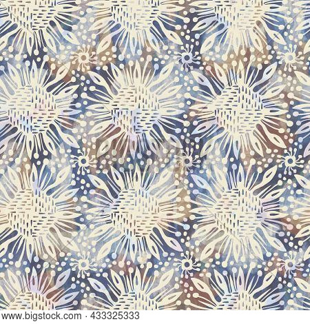 Rustic French Grey Flower Printed Fabric. Seamless European Style Soft Furnishing Textile Pattern. B