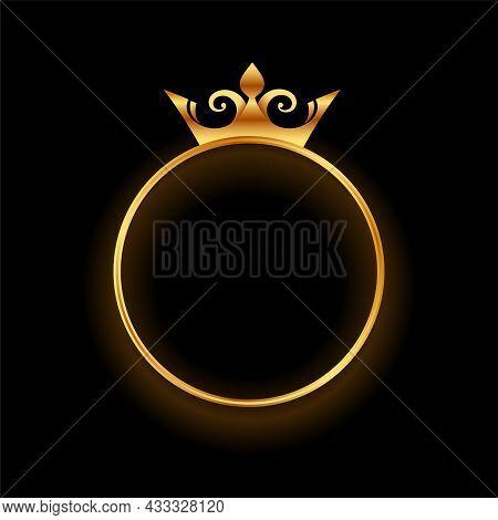 Golden Crown With Circular Ring Frame Background Vector Design Illustration