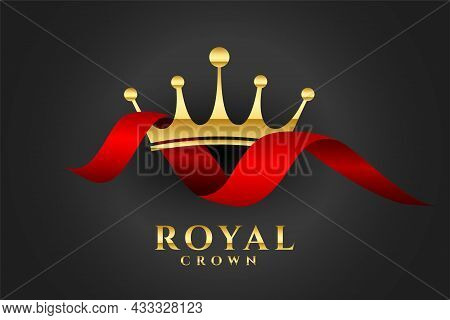 Royal Crown Background With Red Ribbon Vector Design Illustration