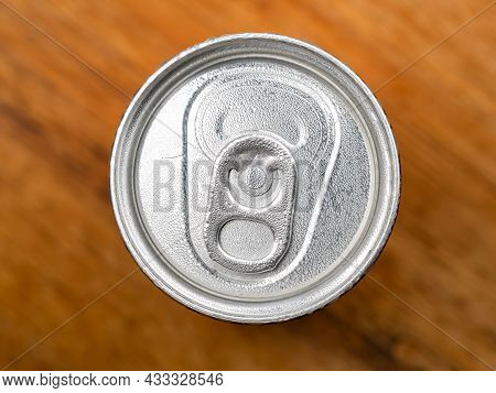 Top View Of Cold Metallic Can Of Beverage With Water Droplet. Cool Can Of Soda With Drops Of Water O