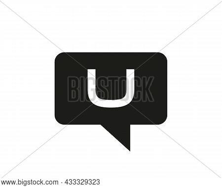Chat Logo On U Letter Concept. Letter U Chat Logo. Letter U Communication Logo Design Template