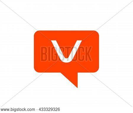 Chat Logo On V Letter Concept. Letter V Chat Logo. Letter V Communication Logo Design Template