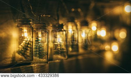 Christmas Decoration Electric Garland With Little Christmas Tree Inside Warm-toned Lights Covered On