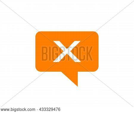 Chat Logo On X Letter Concept. Letter X Chat Logo. Letter X Communication Logo Design Template
