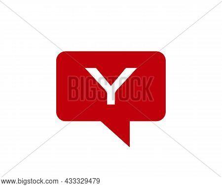 Chat Logo On Y Letter Concept. Letter Y Chat Logo. Letter Y Communication Logo Design Template