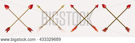 Arrows Drawn With A Cross Obliquely, Gold And Red Tips With Feathers