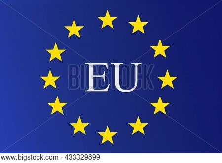 European Union Logo. Flag Of The European Union With Eu Letters In The Middle.