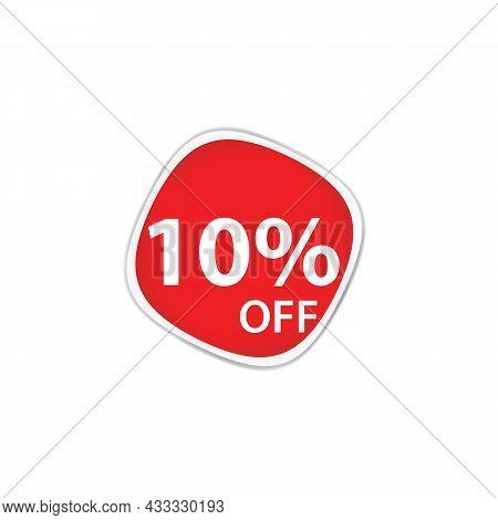 10 Percent Discount, Sales Vector Badges For Labels, Percent Sale Label Symbols, Tags, Web Stickers,
