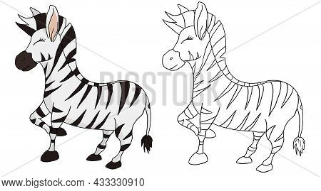 Hand Drawn Cute Zebra Animal Collection Vector Illustration Isolated In A White Background