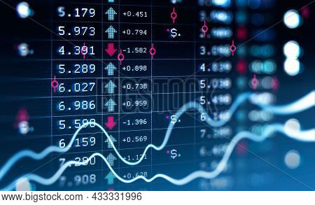 Financial Rising Graph And Chart With Lines And Numbers That Illustrate Stock Market Behaviour. Conc