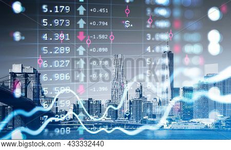 New York City Skyscrapers, Bridge, River. Forex Financial Rising Graph And Chart With Numbers, Candl