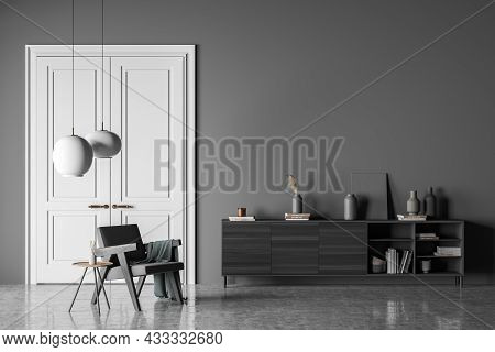 Dark Living Room Interior With Empty Wall, Armchair, Doors, Coffee Table, Sideboard And Concrete Flo