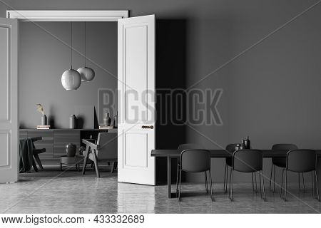 Dark Living Room Interior With Three Armchairs, Six Chairs, Dining Table, Carpet, Doors, Coffee Tabl