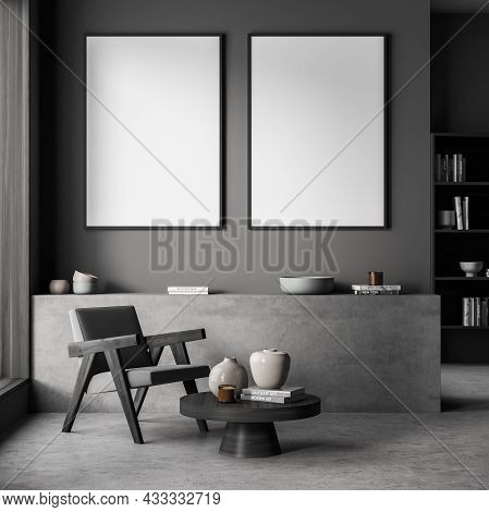 Two Empty Canvases On Dark Grey Wall Of The Living Room Seating With A Basement Ledge, An Easy Armch