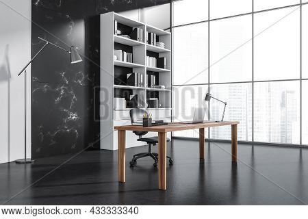 Corner View On Dark Office Interior With Laptop, Panoramic Window With Singapore City, Armchair, Des
