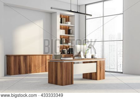 Corner View On Office Interior With Panoramic Window With City Skyscraper View, Desktop, Armchair, W