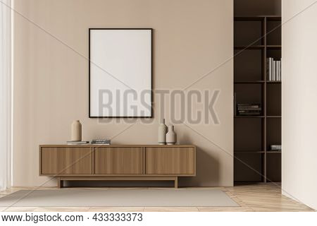 Bright Living Room Interior With White Empty Poster, Sideboard, Carpet, Bookshelf And Oak Wooden Par